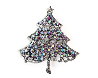 Weiss Rhinestone Christmas Tree Brooch - Aurora Borealis, Silver Tone, Christmas Jewelry, Holiday Jewelry, Weiss Brooch, Vintage Brooch