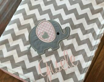 Personalized Baby Blanket- Elephant Baby Blanket- Minky Baby Blanket- Chevron Minky Blanket- Applique Baby Blanket