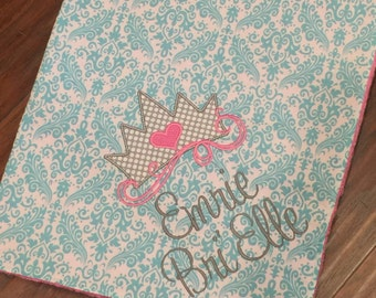 Personalized Baby Blanket- Princess Baby Blanket- Crown Baby Blanket- Personalized Nursery Blanket- Damask Baby Blanket- Minky Baby Blanket