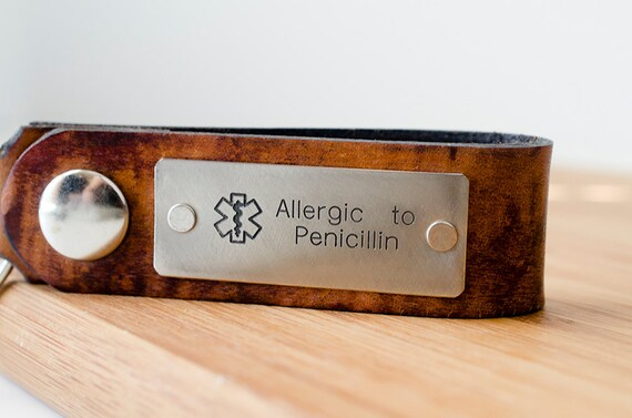 Medic Alert Custom Personalized Leather Key Chain - Allergic to Penicillin