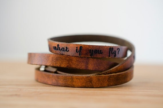 What if I Fall? Oh But My Darling What if You Fly - Ultra Long Leather Wrap Bracelet Stacking Bracelet Triple Wrap