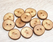 """12 Handmade apple wood Tree Branch Buttons with Bark, accessories (0,9'' diameter x 0,20"""" thick)"""