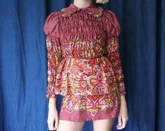 1960's Printed Mini Dress / Peplum Collar Dress / Babydoll Mini Dress / Designer Sixties Modern Dress / Mod Dolly Dress / Size XS dress
