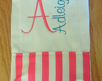 Pink Stripes Personalized Monogrammed Baby Burp Cloth - Perfect for a Baby Shower
