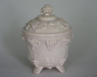 pink milk glass sugar bowl