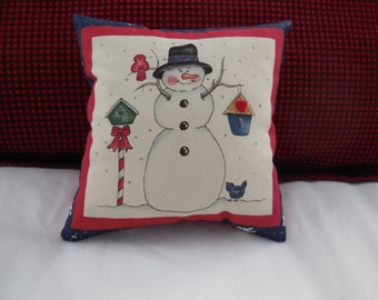Snowman  with his bird friends Pillow