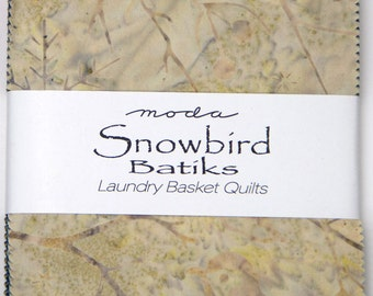 "Snowbird  Batiks by Laundry Basket Quilts for Moda - 100% Cotton - 42 / 5"" Square Charm Pack"