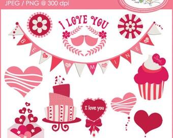 Valentine clipart, Valentine's Day clipart, birthday clipart, baby girl clipart, celebration clipart. DIY Valentine clipart, C58