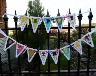 Happy Birthday Banner, Embroidered Pennents, Banner, Happy Birthday, Ready to ship