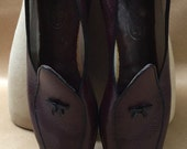 Belgian Loafers Shoes or Slippers 10 Narrow 96 Small Bow Black & Tan Dress Shoe or Slipper Made in Belgium Gently Used