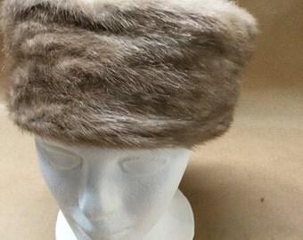 Fur Pillbox Hat Retro Fur Hat Fifties Mad Men Jackie O Style Hat