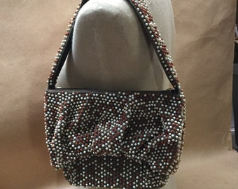Beaded Purse Brown with Metal Zipper Vintage Handbag
