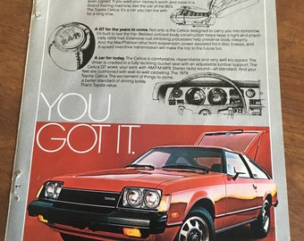 1979 describing the new 1980 Toyoto Celica GT Liftback. 7 x 10. Nice ad.