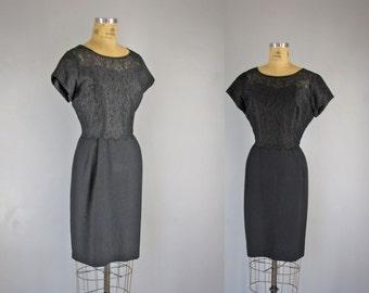 1960s Vintage Dress l 60s Black Lace Dress
