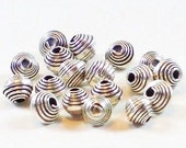 Fine Silver Spacer Beads 4mm Wrapped Karen Hill Tribe 12 pcs. HT-119