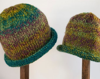 Child Adult Hat Rolled Brim Beanie Color: No. 28 RAINFOREST