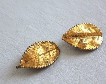 vintage gold leaf earrings / clip on, waldorf, made in west germany, nature inspired