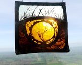 Traditional Stained Glass panel Small Sleeping Badger - Great Gift, Suncatcher