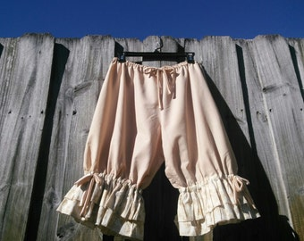 Light tan Knee Length Womens Bloomers with double ruflles