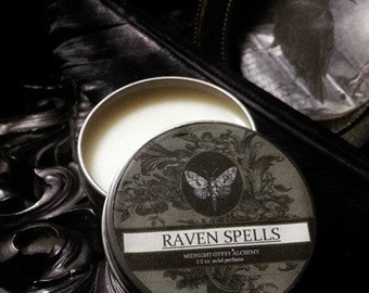 Raven Spells Natural Solid Perfume Gypsy Apothecary Violet Leaf,  Blackberry, Frankincense,Cinnamon,Dragons Blood,Blueberry, Apples