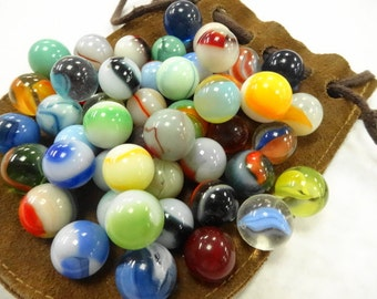 Vintage Estate Old Colorful Art Glass Toy Marbles Variety Assorted Estate Collection 50 EA  In Leather Bag Sack