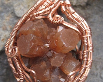 Grounding//// Raw Aragonite and Copper Wire Wrap Pendent, One of a Kind, Handmade, Art