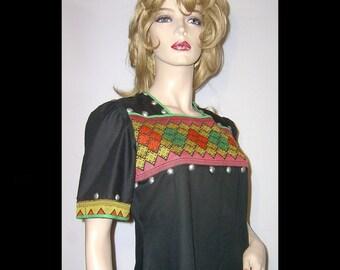 1960s jet black polished cotton maxi hippie dress ~ Medium Large unusual silver metal studded ~ ethnic woven diamonds bodice rust green gold