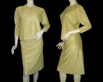50s 60s 10k yellow gold cashmere lame jersey knit pencil skirt suit Medium Large ~ top bow dress ~ Made in France ~ Marilyn Monroe Jackie O