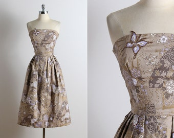 Vintage 50s Dress  | vintage 1950s party dress | floral butterfly dress xs | 5682