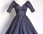 Navy 70's Print Silk Tea Dress with Circle Skirt - Made by Dig For Victory