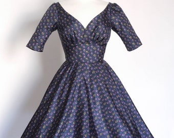 UK Size 10 Navy 70's Print Silk Tea Dress with Circle Skirt - Made by Dig For Victory