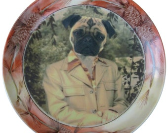 Pugtastic Portrait Plate - Altered Vintage Plate 7.65""