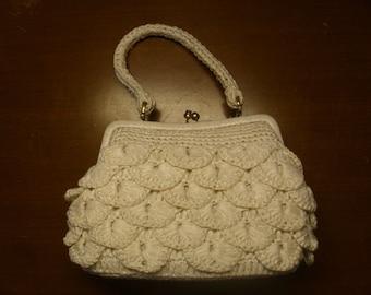 ON SALE  Vintage  1960's  White Raffia Handbag  Deadstock