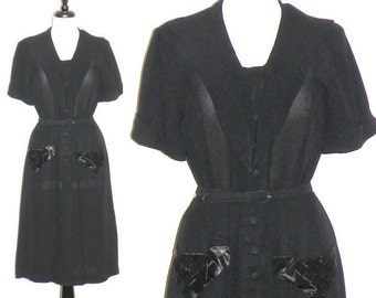 1940s Dress, 40s Black Rayon Dress with Silk Basket Weave Pockets, Film Noir Large
