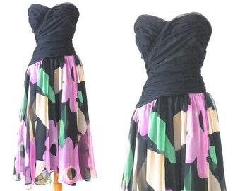1980s does 50s Dress, Strapless Dress, Prom Dress, Floral Chiffon Dress, Sweetheart Dress, Saks Fifth Avenue S - M