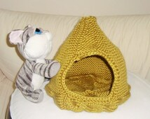 Hand Knitted Cat bed, cave, house, bed cave, Cat Furniture, unique knit cat lover gift, summer sale