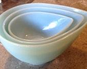 Fire King Turquoise Blue Swedish Glass Teardrop Mixing Bowl Set of  3