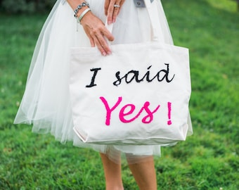 SALE Bride-To-Be,  Future Mrs, Large Bridal Tote Bag,  Bridal Gift Newly Engaged, Gift for Bride, Honeymoon Bag, Bridal Bag, Ready To Ship