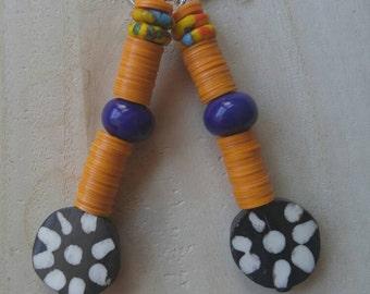 African earring/ African  flower bone black white orange royal blue beaded statement earrings