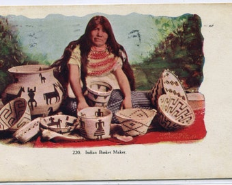 Native American Indian Woman Basket Maker 1908 postcard