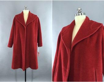 Vintage 1940s Coat / 1950s Swing Coat / 1950 New Look / 40s Red Wool Winter Coat / Size L Large 10