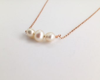 Rose Gold Pearl Necklace, Handmade, Triple Pearl Pendant, Inspirational Jewelry