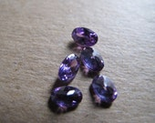 5 faceted Amethyst, oval 6mm x 4mm, transparent Cubic Zirconia gemstones