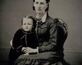 Tintype FULL PLATE Mother & Child, Hand Tinted 7X9