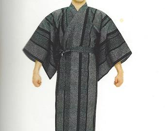 Genuine Japanese Man  Kimono/Yugata - Arabesque Design (Black)