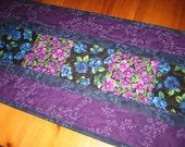 Quilted Tablerunner, Purple and Blue Flowers, Short Summer Runner, Spring Table Runner, Batik Flower Runner, Reversible Runner, Handmade