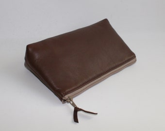 Small Leather Pouch. Leather Bag. Leather Make-Up Bag. Leather Cosmetic Bag in Chocolate Brown