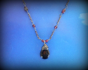 Garnet Necklace Pendant, Witches of East End, January birth Stone