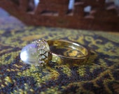 Unique Crystal Ball Quartz Dome Scrying Orb Ring in Gold MEDITATION STONE