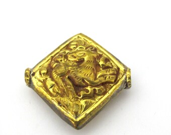 1 Bead -  Tibetan Brass bead with deer animal handmade repousse carving from Nepal  - Nepalbeadshop jewelry supplies - BD888